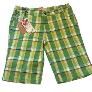 Acid Red green and yellow plaid shorts